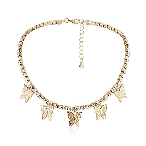 collar Collar Con Colgante De Mariposa De Color Dorado Y Plateado, Cadena De Clavícula De Cristal Brillante Para Mujer, Joyería De Moda, Regalo De Fiesta