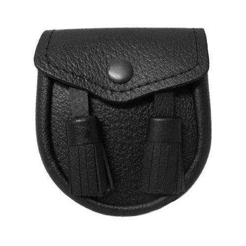 """Tartanista - Sporran pour bébé - cuir - style écossais - 2 pompons - cuir noir - Env. 10 cm x 10 cm (4"""" x 4"""")"""
