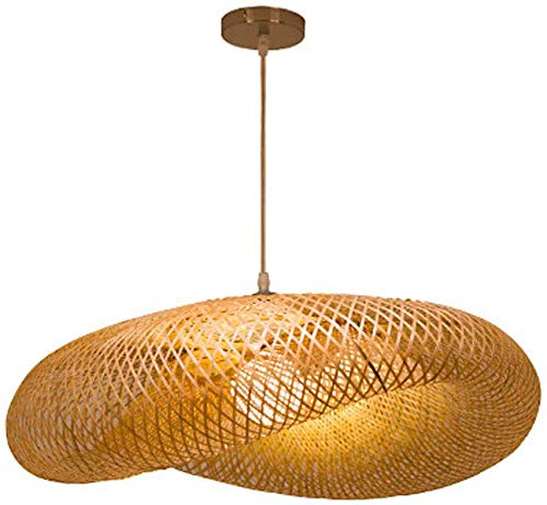 HZJ Vintage Weben Kronleuchter Natürlichen Bambus Und Rattan Gewebt Hängeleuchten Käfig Hängelampe Kreative Rattan Der Vogelnest Kronleuchter, handgemachte Bambus Rattan-Lampe E27,D50cm