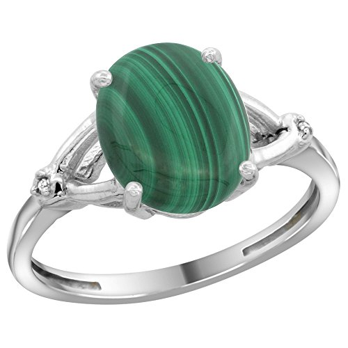 Sterling Silver Diamond Natural Malachite Ring Oval 10x8mm 3/8 inch Wide, Size 5.5