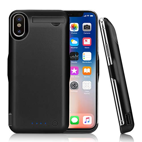 iPhone X Battery Case,Epuirie 10000mAh Rechargeable Power Charging Case for iPhone X(5.8 inch) Extended Battery Pack Protective Charger Case,Compatible with Lighting Headphones (Black)