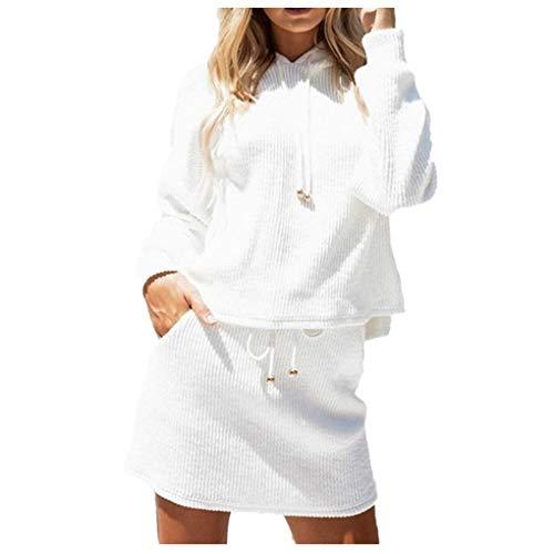 Goosuny Sport Zweiteiler Set Frauen Trainingsanzug Spleißen Sweatshirt & Rock, Modische Lässige Sexy Langarm Kurzer Pullover Damen T Shirts Top Oberteil Sweat Coat Super Minirock (S, 01 Weiß)