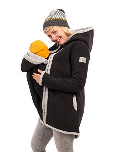 Viva la Mama I Umstandsjacke Winter warme Tragejacke für Mama + Baby Winterjacke mit Einsatz I Arctica schwarz-grau - S
