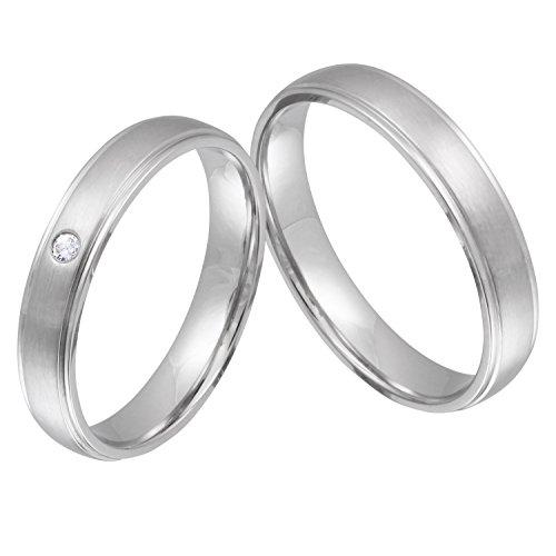 Juwelier Schönschmied - Zwei Trauringe Hochzeitsringe Ehering Narrow Edelstahl Zirkonia inkl. persönliche Wunschgravur 50-62 Nr1HD