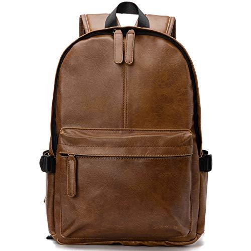 Viaggi Zaino Borsa a Tracolla,OB OURBAG Zaino in Pelle PU Esterni Scuola Zaino fit 15.6' Laptop Backpack per Uomo e Donna (Marrone scuro))