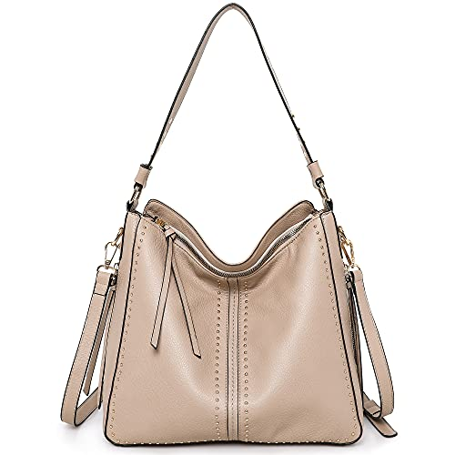 Montana West Hobo Bags for Women Apricot Large Handbags Concealed Carry Studded Ladies Leather Shoulder Bags