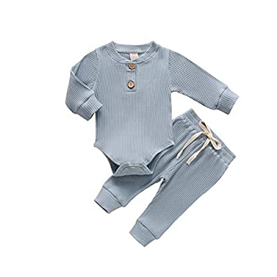 Newborn Baby Boy Girl Clothes Ribbed Knitted Cotton Long Sleeve Romper Long Pants Solid Color Fall Winter Outfits (A- Blue, 0-3 Months) by MA&BABY