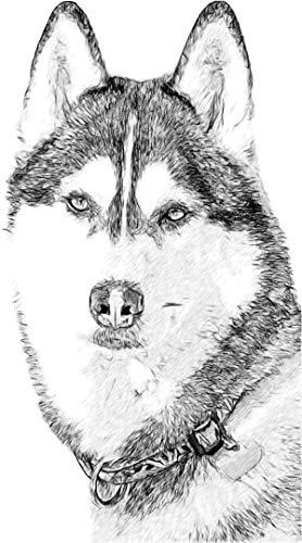 dekodino® Wandtattoo Hund Husky schwarz weiß Wandsticker Dekoration