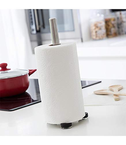 Stainless Steel Kitchen Paper Roll Towel Holder Stand Rack with Suction Cup Base by Excellent Houseware