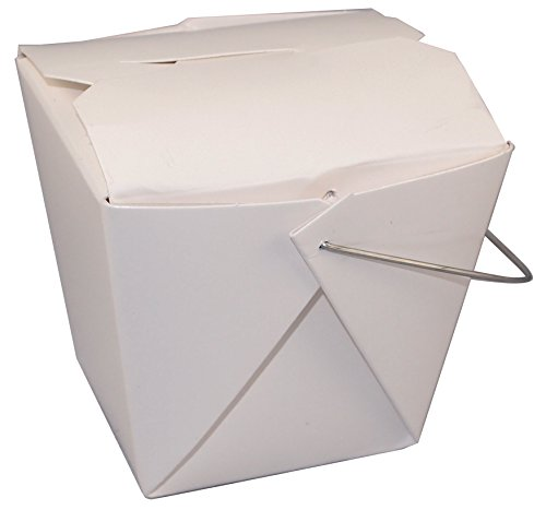 """Fold-Pak 08WHWT500M Paper Wire-Handled Food Pail, 2-3/8"""" Length x 1-3/4"""" Width x 2-1/2"""" Height, 8-Fluid Ounce Capacity, White (Case of 500)"""