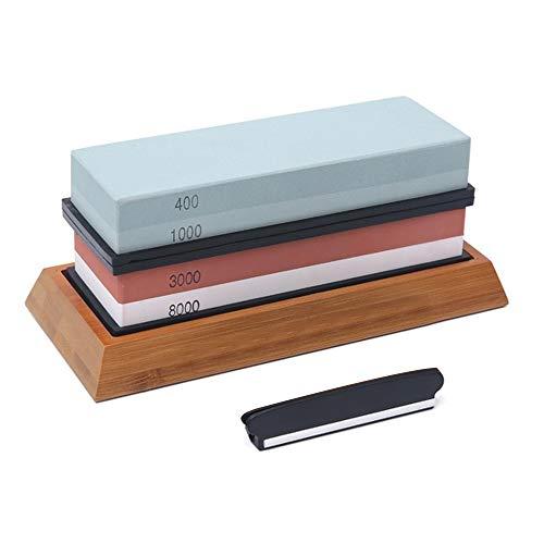 Abziehstein Schleifstein Set, 400/1000 3000/8000 Wetzstein Set, Rutschfestem Messerschärfer mit rutschfester Bambusbasis und Freiwinkelführung, für Küche Messer