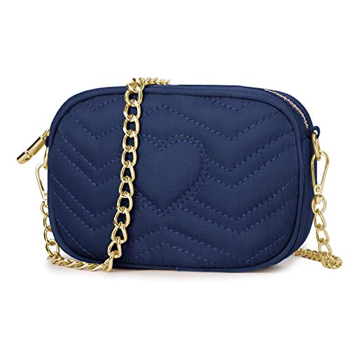 Wind Took Umhängetasche Damen Klein Sling Tasche Vintage Kette Bag Clutch Mini Citytasche für Hochzeit Party Disko, 11.5x17.5x5.5 cm Blau