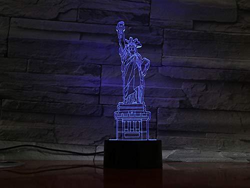 3D Illusion Lampe Freiheitsstatue LED Nachtlicht, Kinderschlaflicht USB Powered 7 Farben Blinkt Berührungsschalter Schlafzimmer Dekoration Kinderspielzeug Geburtstagsgeschenk