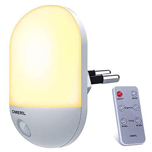 Luce Notturna Bambini, OMERIL Luce Notturna con Telecomando e Funzione Timer, Luce Notturna LED con 3 Luminosità Regolabile e 2 Colori Commutabile per Corridoi, Vivai, Cucina, Scale -Caldo Giallo