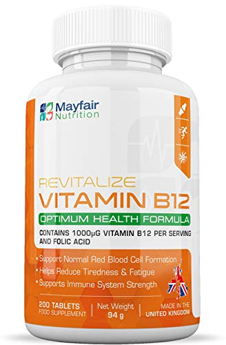 Vitamine B12 met foliumzuur | 200 Premium 1400mg tabletten | Vegetarisch en Veganistisch Supplement | Niet-GGO & glutenvrij | Levering 6 maanden | Gemaakt in het Verenigd Koninkrijk door Mayfair Nutrition