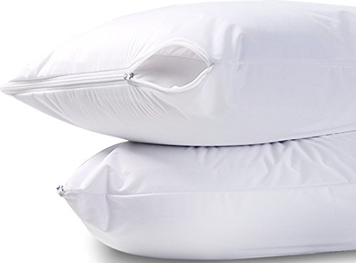 Utopia Bedding Waterproof Zippered Pillow Encasement Bed Bug Proof Pillow Cover Protects Against Dust Mite, Bacteria, Allergens - Polyester Jersey Fabric Pillow Protector (White, Queen)