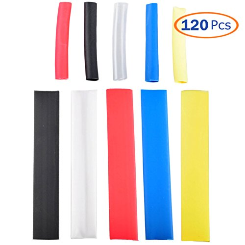 Heat Shrink Tubing Kit, Conwork Assorted 2:1 Heat Shrinking Tube Wire Wrap Cable Sleeve Set (120Pcs, 5 Colors)