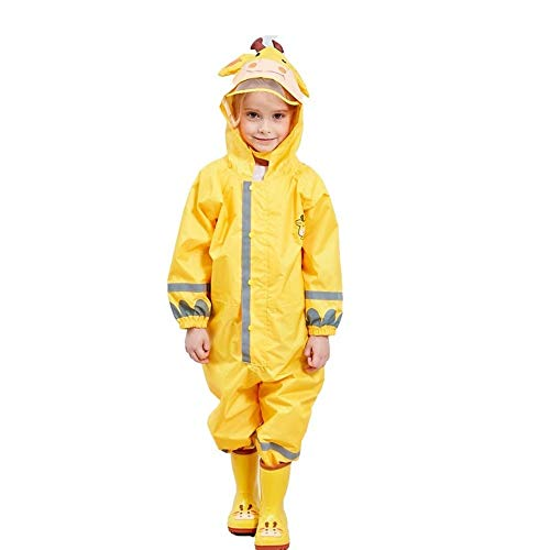 SSAWcasa One Piece Rain Suit Kids,Unisex Toddler Waterproof Rainsuit Rain Coat Coverall (M, Yellow Giraffe)