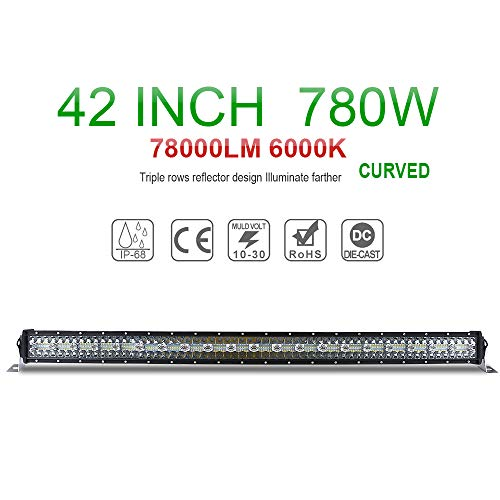 Jiuguang LED Light Bar 42inch Curved Light Bar Stainless Steel Brackets Offroad Work Light Bar for Truck Jeep SUV UTV Boat, 3 Years Warranty (9631T-Curved-42inch)