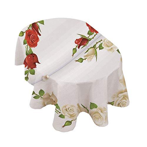 Tovaglia ovale con perle decorative, rose a forma di bouquet di cuore, tema romantico, stampa digitale, in poliestere, 150 x 300 cm, per feste, matrimoni, primavera, estate, rosso, bianco, gree