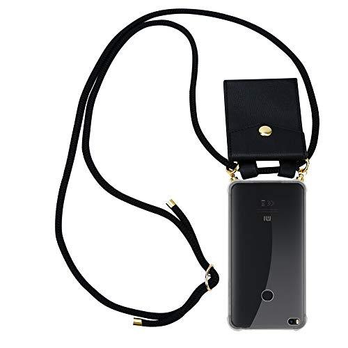 Cadorabo Funda con Cuerda para Xiaomi Mi MAX 2 en Negro – Cubierta Protección Collar para Colgar di TPU Silicona Transparente con Anillos OROS, Cordon y Estuche Removible