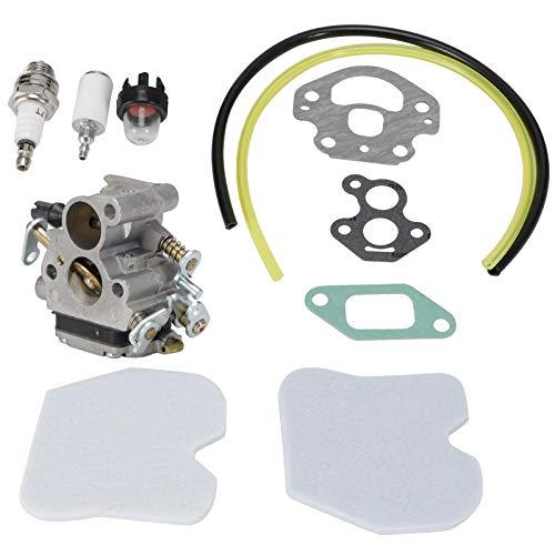 Zerodis Carburador con Filtro de Aire, Kit de Filtro de Combustible para Motosierra Husqvarna Zama con bujía, Bombilla de imprimación, línea de Combustible