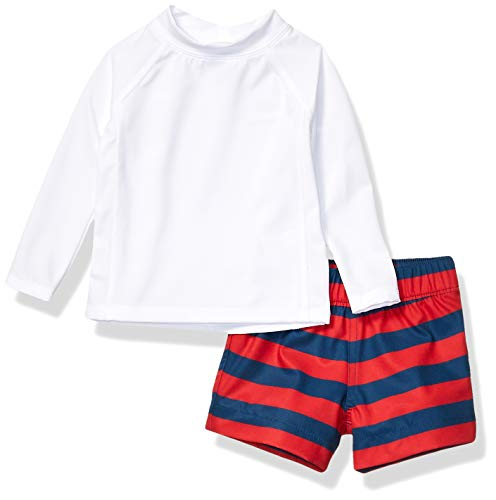 Amazon Essentials UPF 50+ Baby Boy's 2-Piece Long-Sleeve Rashguard and Trunk Set, red Rugby Stripe, 9M