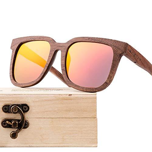 Zhhhk Gafas De Madera De Nogal Negro Recubiertas Polarizadas Gafas De Sol De Moda Retro Unisex Multicolor con Protección UV400 (Color : Red)
