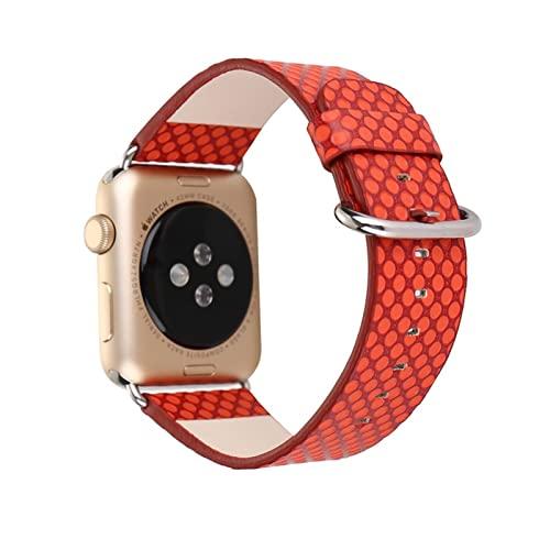 YYAN Nuevo Deporte PU Ajuste de la Correa de la Banda for el Reloj de Apple 6 5 4 3 2 1 Marchito Reloj Ajuste for iWatch 44mm 40mm 42mm 38mm Cinturón de Reloj de Lunares (Band Color : C)