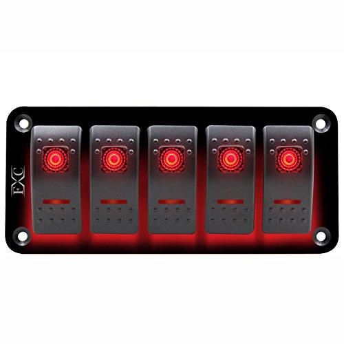 Kuinayouyi Panel de interruptor basculante rojo de 12 V a 24 V, 5 bandas, interruptor de circuito, barco, resistente al agua