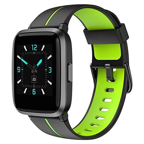 AIKELA Smartwatch, Orologio Fitness con Saturimetro (SpO2)/Misuratore Pressione/Cardiofrequenzimetro/Contapassi da Polso, Fitness Tracker con 5 ATM Waterproof, Orologio donna e uomo,iOS Android(verde)