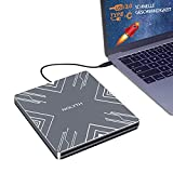 Unidad externa de CD y DVD, USB 3.0 Type-C, portátil, delgada, grabadora de DVD/CD Rom, lector de lector óptico para portátil, PC, escritorio, Mac, MacBook, Windows 10/8/7, Linux, Vista, MacOS