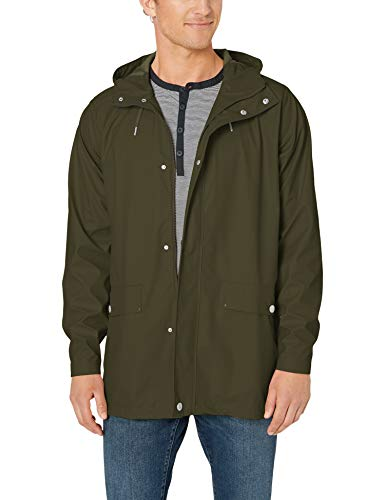 Helly Hansen Men's Moss Long Hooded Fully Waterproof Windproof Raincoat Jacket, 469 Forest Night, Small