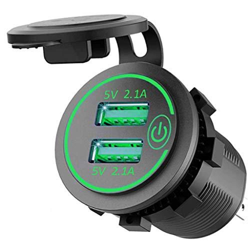 YWSZJ Cargador rápido USB Dual de 4.2A con Toma de Corriente Adaptador de Enchufe Puertos USB duales Impermeables para autocaravanas, Motocicletas y Camiones Marinos (Color : B)