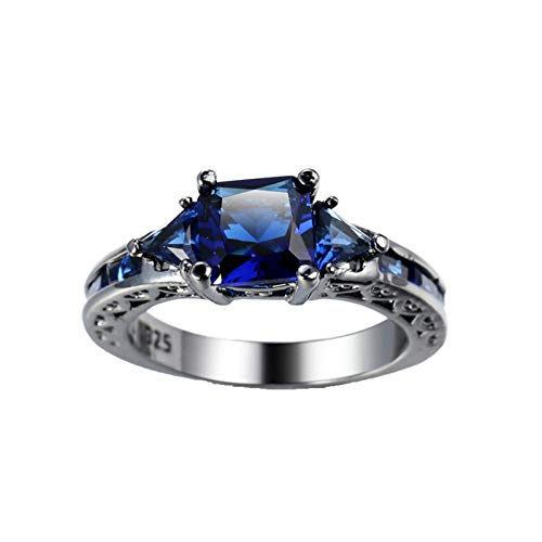 KnBob Women Girls Vintage Ring Square Shape Dark Blue Cubic Zirconia Ring Black Gold Plated Size P 1/2
