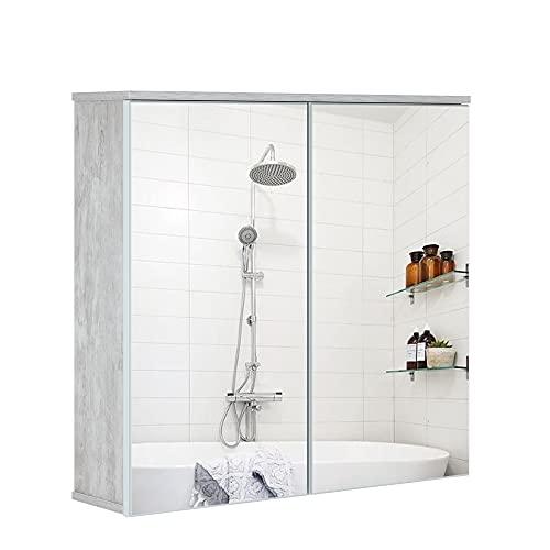 HIFORT Armario de Espejo de Madera, Armarios con Espejo para Baño, Mueble Espejo Baño, 2 Puertas, con 2 Estantes Ajustables, Grano de Madera Gris, 76 x 74 x 20 cm
