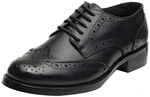 Las mujeres perforaron Wingtip Leather Oxfords, Vintage Brogue cómodo Office Low Heel Shoes Negro 38