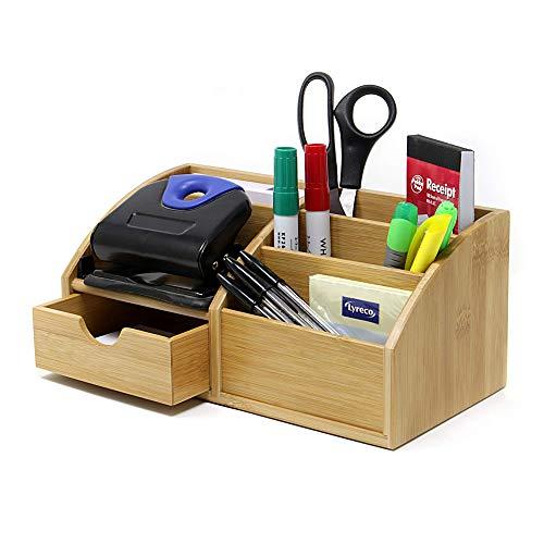 Maison & White Bambus-Schreibtisch-Organisator | Multifunktions - 7 - Aufbewahrungs - Organizer für Ablagen | Heim & Büro Holzschreibtisch aufgeräumt