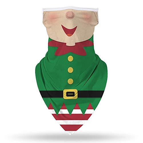 GLUDEAR Ugly Christmas Santa Claus Face Mask Reusable Washable Bandanas Neck Gaiter Cover Ear Loops,Christmas Elf