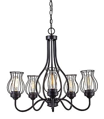 """Trans Globe Lighting 70786 ROB Congress Indoor Rubbed Oil Bronze Industrial Chandelier, 25"""""""