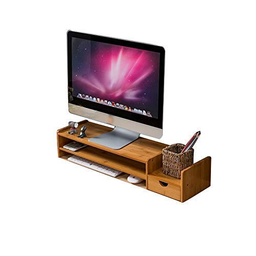 SH-CHEN Universal Laptop Notebook Monitor Stand Rack, Wooden Simple Modern Keyboard Storage Rack Office Desk Storage Rack with Drawer and Mobile Phone Stand 69 19 14cm File Cabinets