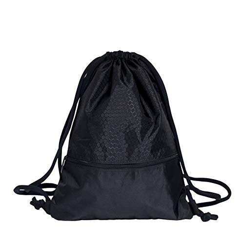 Honglimeiwujindian Football Carrying Tote Basketball Storage Bag Fitness Drawstring Backpack Training Sports Equipment 1 Ball for Basketball Football Volleyball (Color : Black, Size : 31 x 19 x 55cm)