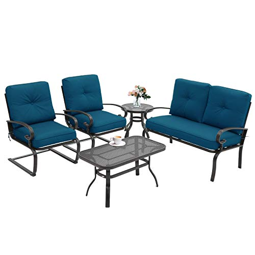 Incbruce 5Pcs Outdoor Indoor Patio Furniture Conversation Sets Loveseat and Spring Motion Chairs Bistro Set - Steel Frame Table and Chairs Set with Cushions (Peacock Blue)