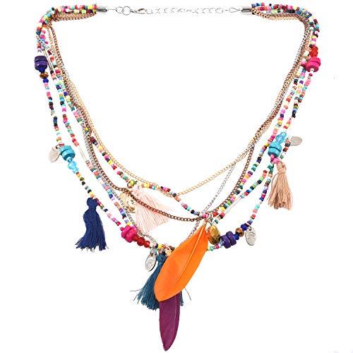 cherrypop Elegante collar de cadena de múltiples capas para mujer, estilo étnico, plumas, borlas