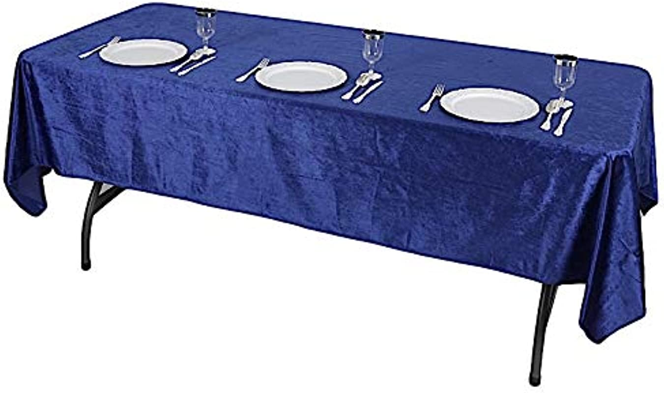 BalsaCircle 60x102 Inch Royal Blue Rectangular Premium Velvet Tablecloth Wedding Party Kitchen Table Linens Decorations Supplies
