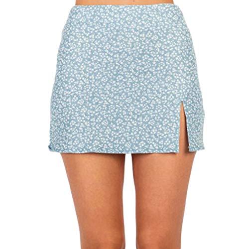 KIMODO Tennisrock Minirock Damen A-Linie Plissee Schnür Bandage Kurzrock Bedruckter Rüschenrock Fitness Yoga Skort Skirt für Mode Frauen Mädchen (F-Blau, XL)