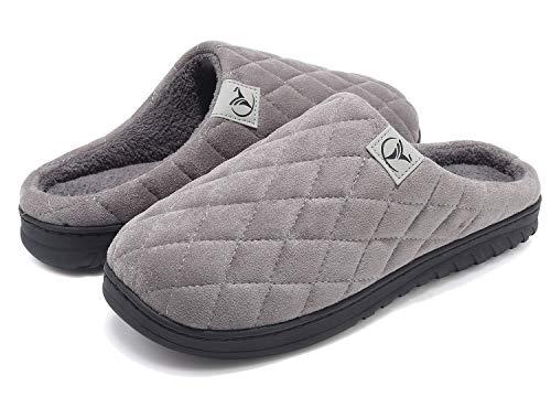 VIFUUR Hombre Zapatillas de casa Espuma de Memoria de Alta Densidad Cálido Interior Lana al Aire Libre Forro de Felpa Suela Antideslizante Zapatos Gris Oscuro 44/45