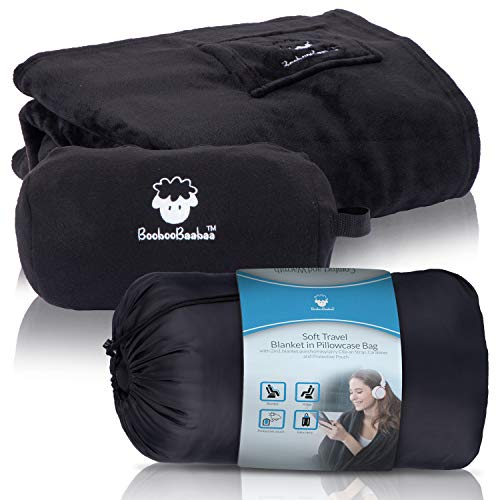 BoobooBaabaa Travel Blanket Airplane Compact with Bag - Size Large Soft Black Throw Blanket for Couch Transform to Bolster Pillow, Ease Tiredness Feel Refreshed