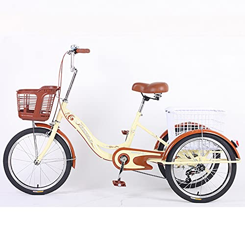 Triciclo para adultos 20in Triciclo Adulto Comfort Bicycles Bike Outdoor Sports 3 Ruedas Bikes Con Cesta De La Compra Tres Ruedas Cruiser Bike Para Personas Mayores, Mujeres, Hom(Color:De color crema)