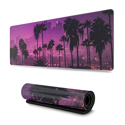 Los Angeles Synthwave Vaporwave Gaming Mouse Pad XL, Extended Large Mouse Mat Desk Pad, Stitched Edges Mousepad, Long Non-Slip Rubber Base Mice Pad, 31.5 X 11.8 Inch